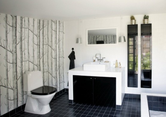 Luxury-black-and-white-bathroom-design-with-bathtub-modern-washbasin-with-sink-toilet-bowl-and-decoration
