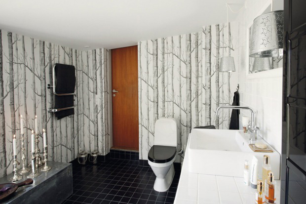 Cool Black And White Bathroom Design With A Huge Custom