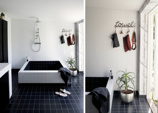Cool Black And White Bathroom Design With Huge Custom Made Bathtub