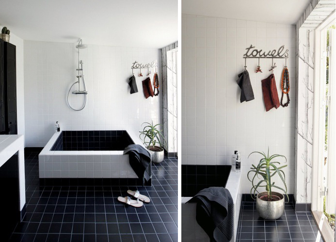 Cool black and white bathroom design with a huge custom made bathtub digsdigs - Black and white bathroom designs ...
