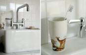 Cool Black And White Bathroom Design With Huge Custom Made Bathtub