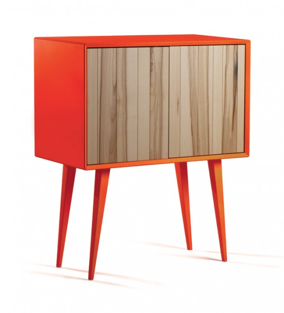 Cool Bright Cabinet In Mid-Century And Minimalist Style