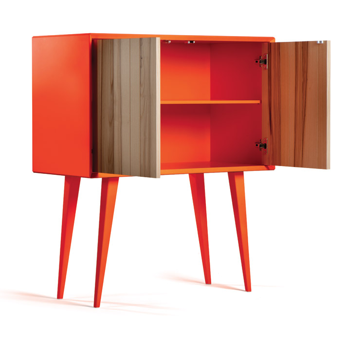 Cool Bright Cabinet In Mid Century And Minimalist Style