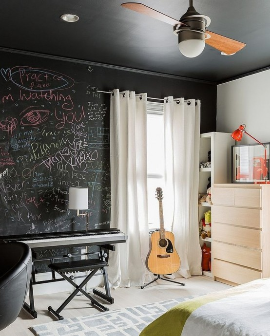 21 Creative Accent Wall Ideas For Trendy Kids Bedrooms: 25 Cool Chalkboard Bedroom Décor Ideas To Rock