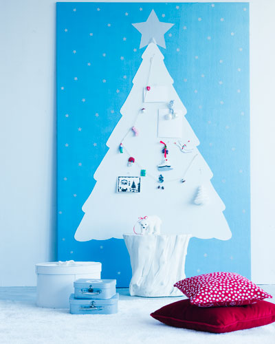 Painted Christmas Tree On Pin-Up Board (via ariadneathome)