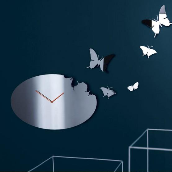 Butterfly Oval Clock