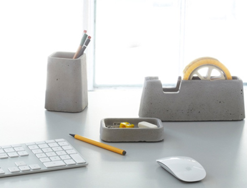 Cool concrete desk accessories collection digsdigs - Unique office desk accessories ...