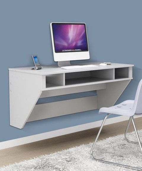 Prepac Floating Desk White 480 x 577