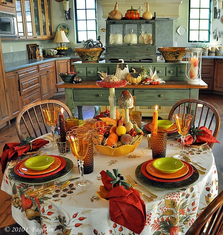 37 cool fall kitchen decor ideas digsdigs for Great kitchen table decorating ideas