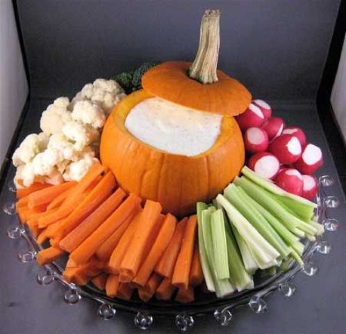 used a pumpkin instead of a bowl and fill it with dip placing fresh veggies all around