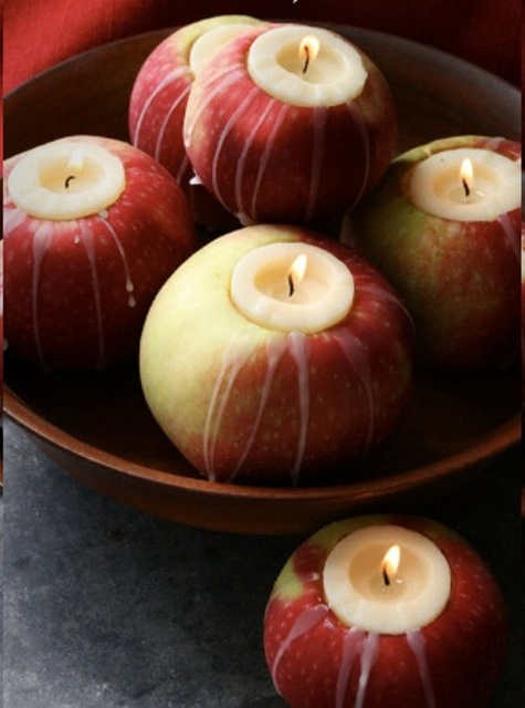 fall apples as candleholders is a genious and very seaosnal idea, make as many as you want