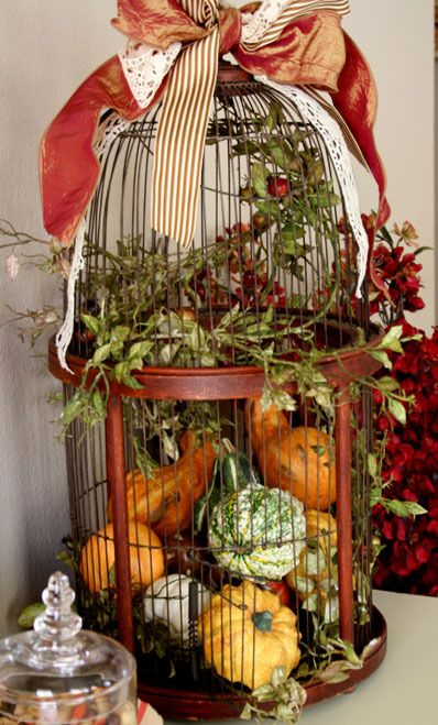 a cage filled with real pumpkins and gourds and topped with a ribbon bow for natural fall decor
