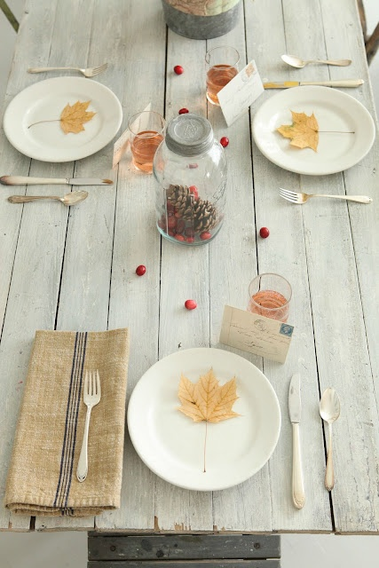 a simple and shabby chic table setting with berries, pinecones and fall leaves on plates