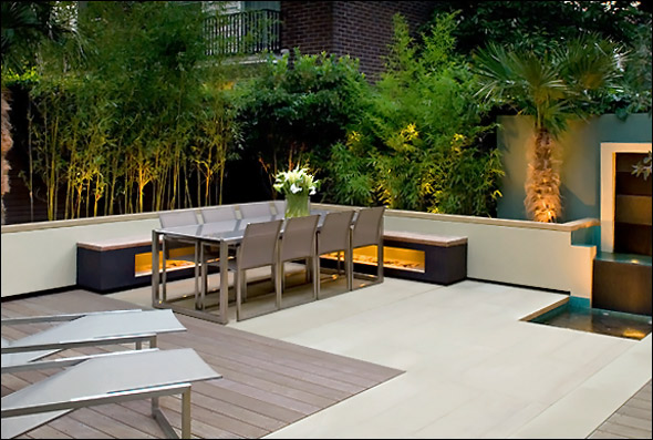 Cool garden and roof terrace design in contemporary style for Rooftop landscape design