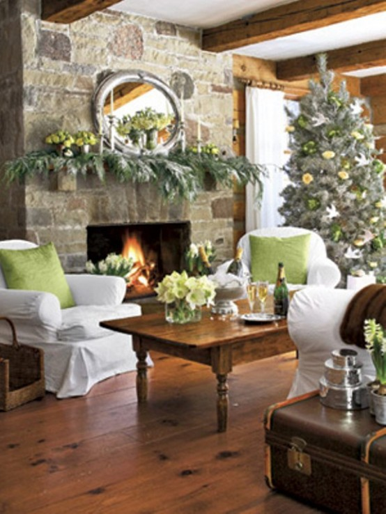 cool green christmas decor weisen christmasliving room overall 2photographer robin stubbert