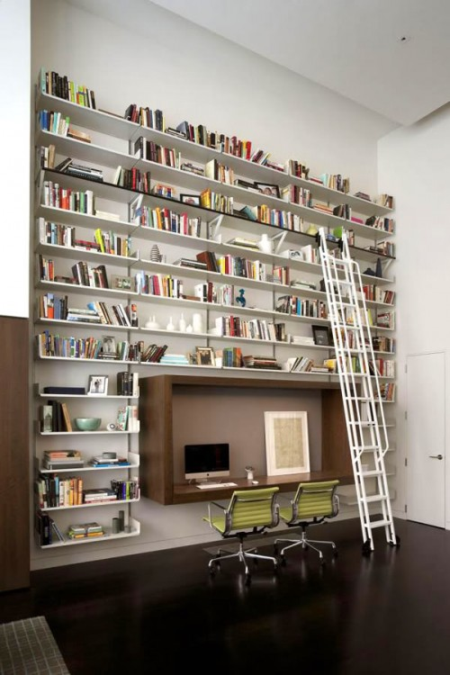 Home Office Library Design Ideas : Home Library Ideas Cool Black White Home Office Decor Licious L Sha ...