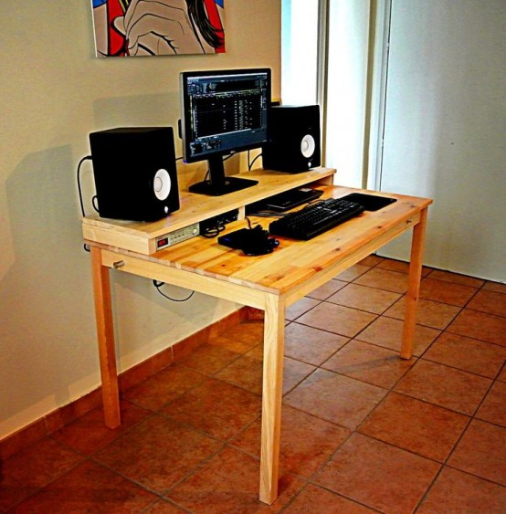 Add an additional shelf and the table would become a practical desk with support for a monitor and speakers.