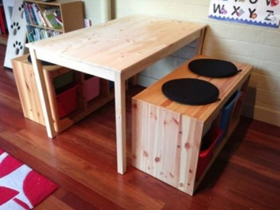 Combine INGO table with other pine furniture to create a practical dining set.
