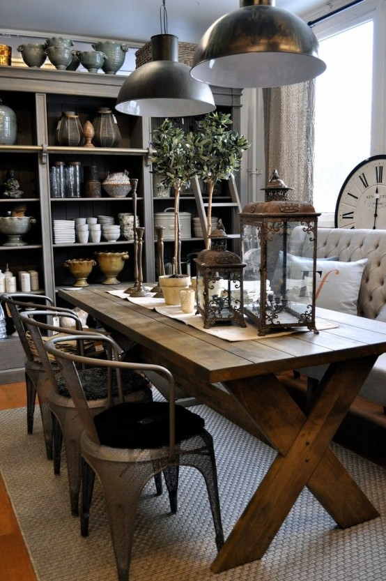 35 cool industrial dining rooms and zones digsdigs - Style industriel chic ...