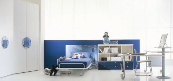 Cool White-Blue Kids Bedroom