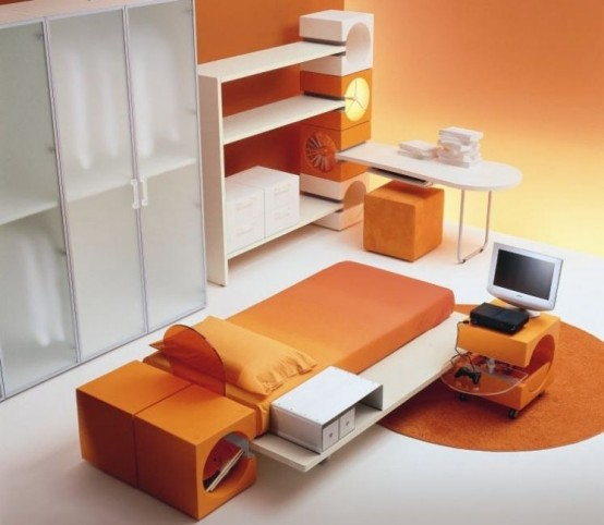 Cool Orange Kids Bedroom