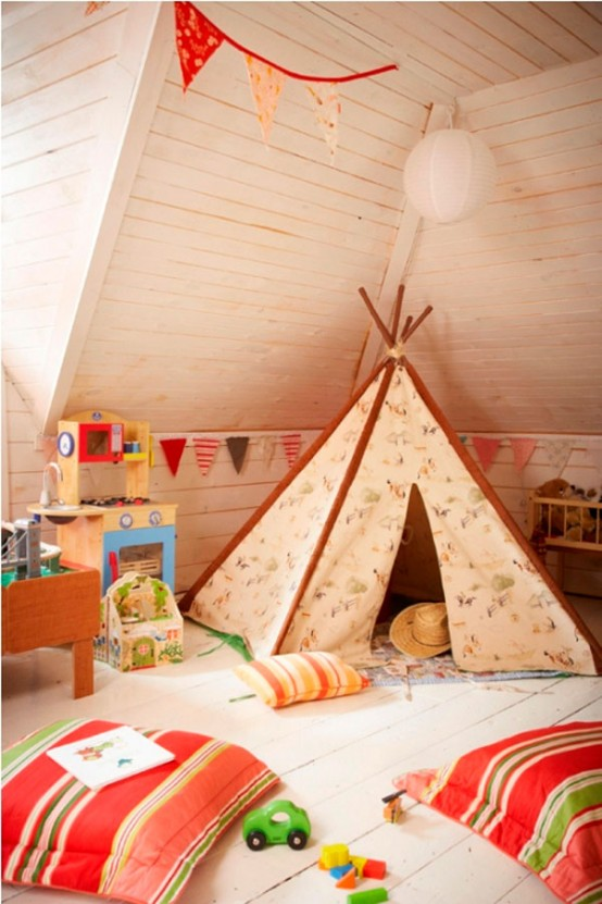 33 Cool Kids Play Rooms With Play Tents