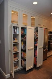 a built-in pantry with large vertical drawers will accommodate a lot of your stuff and will be a nice solution for storage