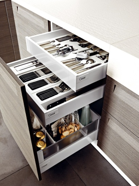 several drawers will help you accommodate various stuff you want - insert as many as you want into your cabinets