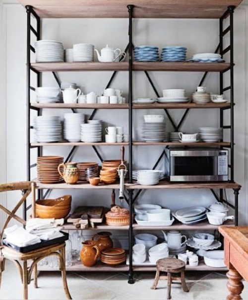 an oversized open storage piece with several shelves is a cool idea for any kitchen and it will accommodate a lot of stuff