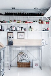 open white shelves will store a lot of stuff but still won't look bulky giving you much space