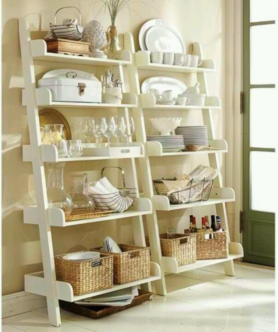 open tableware storage - two large ladders by the walls with many shelves is a creative and comfy option