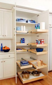 a mini pantry with drawers for storing some stuff is a cool idea with much functionality