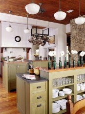 an open storage kitchen island and an additional mini cabinet to accommodate as much as possible