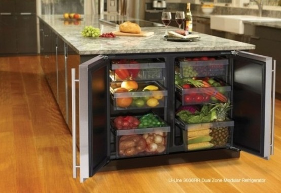 a storage kitchen island with an additional fridge in its side is great for storing food