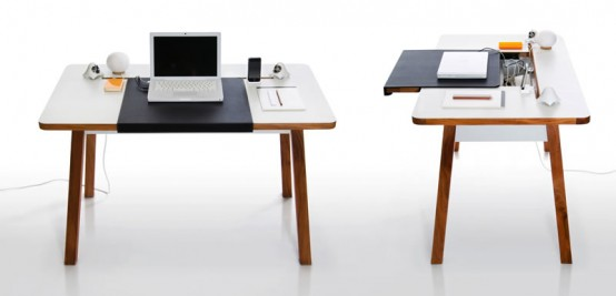 Beau Compact And Stylish Laptop Desk For The Home Office With Cool Cord  Management
