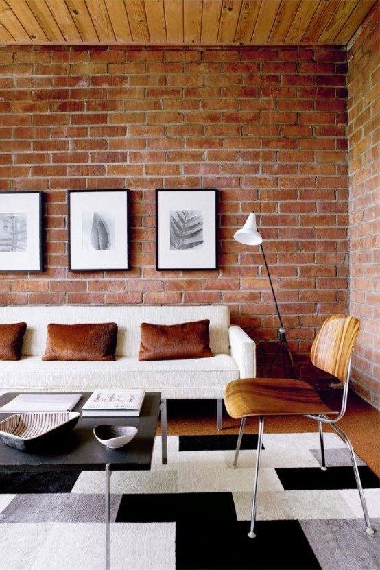 59 cool living rooms with brick walls digsdigs for Neat living room ideas