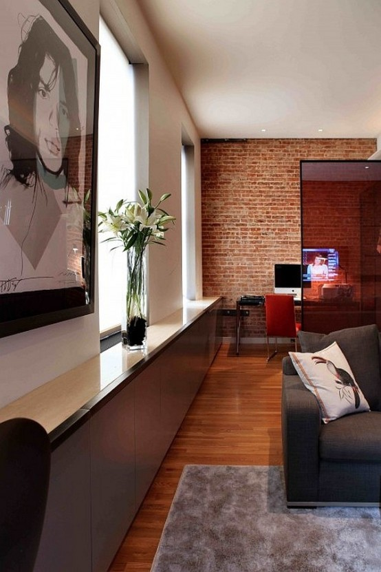 59 Cool Living Rooms With Brick Walls - DigsDigs