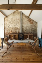 living room designed in rustic industrisl style