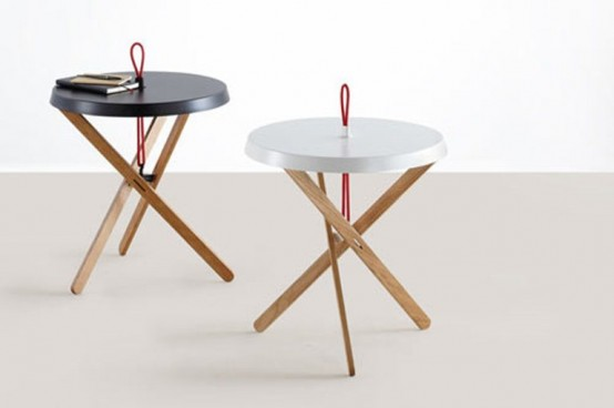 Cool Minimalist Side Table With A Red Handle by Mox