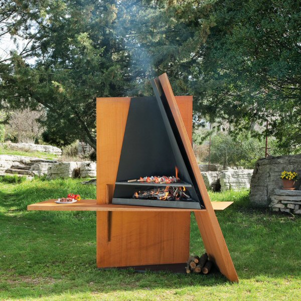 Cool outdoor bbq grill made of wood and steel digsdigs for Outdoor barbecue grill designs