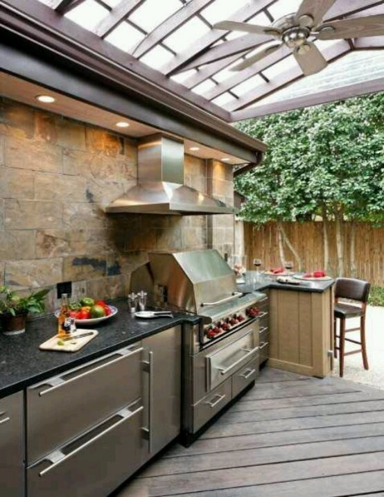 If you have a gable roof above your cooking area then don't forget to install a cooking hood. Otherwise it won't be as comfortable to use as it should be.