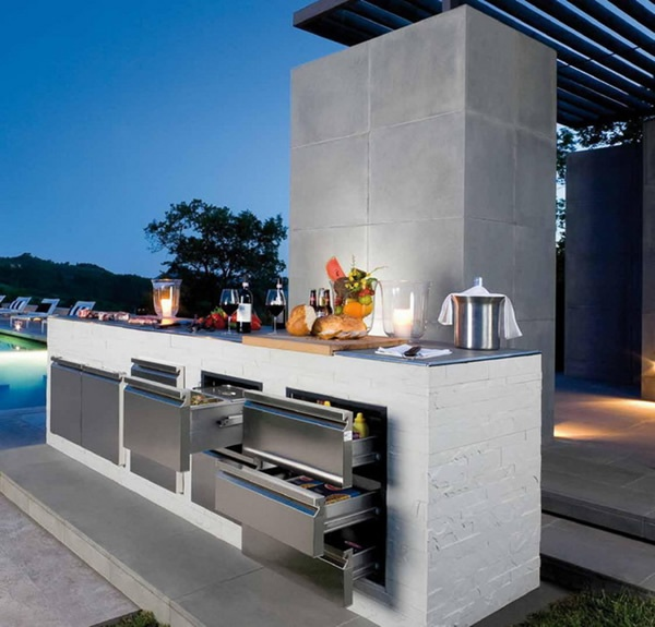 56 cool outdoor kitchen designs digsdigs for Outside barbecue area design