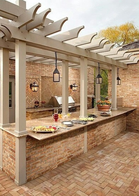 95 cool outdoor kitchen designs digsdigs for Outdoor kitchen brick design