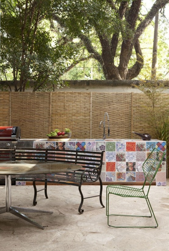 here is an awesome idea to use different patchwork tiles to make your outdoor kitchen more