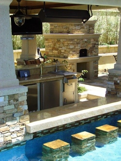 cool outdoor kitchen designs if you have a pool then you can create a small bar area connected to the
