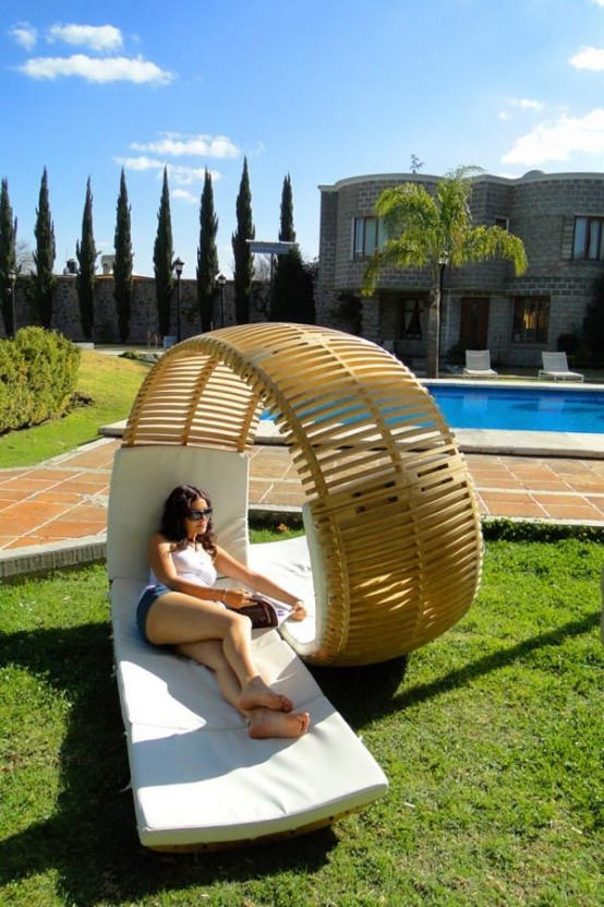 a unique swirling double lounger made of plywood is a cool modern idea that catches an eye and looks super bold