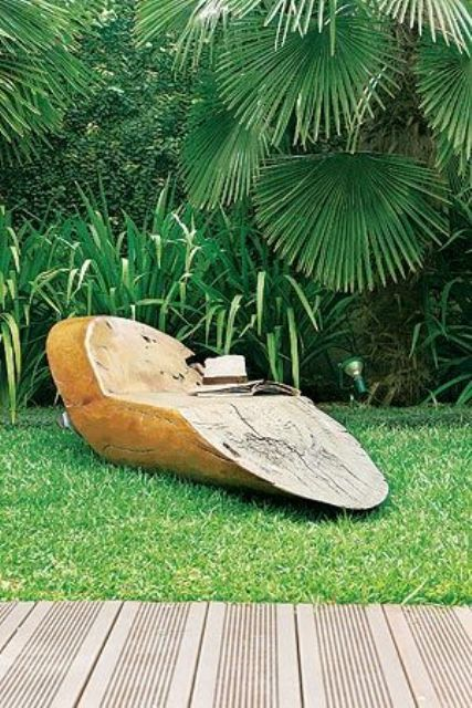 a single wood piece lounger is a very natural and fresh idea - it will fit a tropical, natural and just minimalist backyard