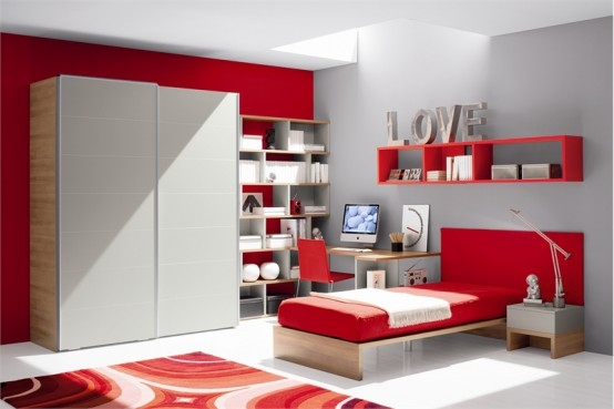 Red And White Teen Room Design With Ergonomic Study Desk By Julia
