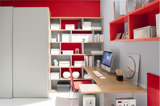 Red And White Teen Room Design With Ergonomic Study Desk