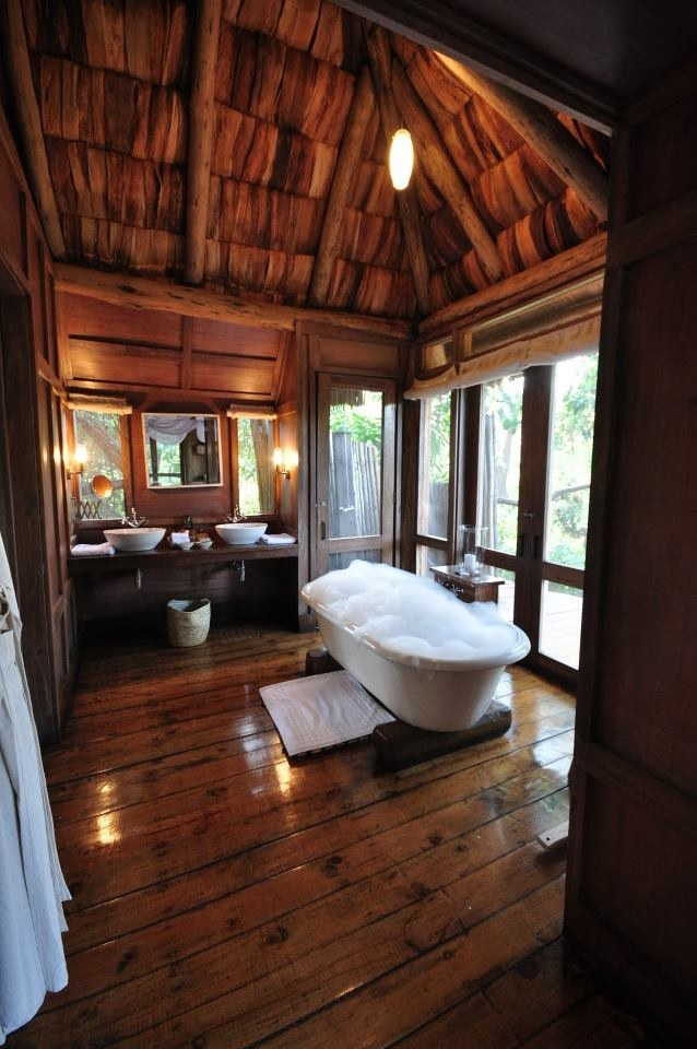 39 cool rustic bathroom designs digsdigs for Log home bathroom ideas